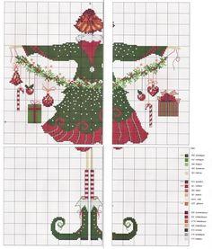 1 point de croix femme lulu belle et guirlande de noel - cross stitch lady lulu belle and christmas garland
