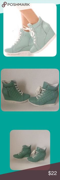 Light Mint Lace Up Wedge Shoes These are New and have Never been Worn!!! To keep Shipping Low I Will ship without the Box!!! Reasonable Offers Only!!! Forever Shoes Wedges