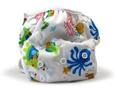 Nageuret Premium Reusable Baby Swim Diapers By Beau & Belle Littles. Washable, Adjustable Cloth Swimming Diapers Fit Babies 0-3 Years, 6-40 Lbs Very Cute Waterproof Infant Swim Diaper, Makes a Great Gift for New Parents and Swimming Lessons! (Sea