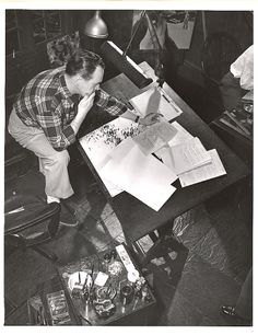 Alex Raymond (Flash Gordon). Part of a collection of photos featuring cartoonists in their studios.