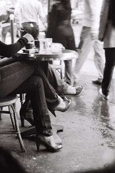 Parisians people-watching from the terrace tables at Café Mabillon, photographed by Tom El-Bez.