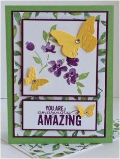2015 Painted Petals Stamp Set; Painted Blooms DSP; Wild Wasabi, Blackberry Bliss, Whisper White & Daffodil Delight CS; Wild Wasabi & Blackberry Bliss Ink; Beautiful Wings Embosslit; Basic Jewel Rhinestones.