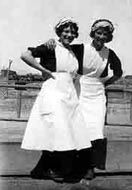 """Harvey Girls - """"Wanted: Young women, 18 to 30 years of age, of good moral character, attractive and intelligent, as waitresses in the Harvey Eating Houses on the Santa Fe Railway in the West."""" Between the and the young women worked as Harvey Girls. Harvey House, Harvey Girls, Good Morals, Berlin, Second Empire, Thats The Way, Women In History, Historical Photos, Role Models"""