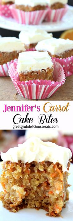 Jennifer's Carrot Cake Bites - These carrot cake bites are divine! Moist little bites of heaven. You will fall in love with this cake with your first bite! Mini Desserts, Just Desserts, Delicious Desserts, Yummy Food, Easter Desserts, Mini Cakes, Cupcake Cakes, Cupcakes, Cake Recipes