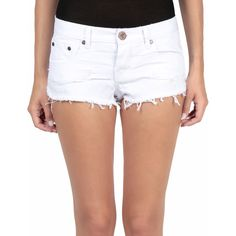 One Teaspoon Beauty Bonitas cotton denim shorts ($68) ❤ liked on Polyvore featuring shorts, bianco, one teaspoon, relaxed shorts, one teaspoon shorts and relaxed fit shorts