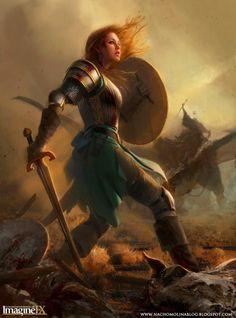 female warrior red hair sword shield