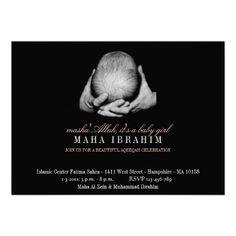Lovely Aqeeqah invitation ♥ Islamic Aqeeqah black photo girl vintage Islam Invite Invitation Cards, Invite, Invitations, All Friends, Compare And Contrast, Baby Quotes, Girl Nursery, Fun Ideas, Unique Vintage