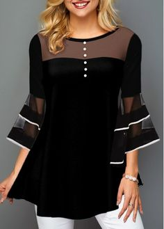 Material : Polyester, Spandex Washing Instructions : Hand Wash Package Contents : 1 X T Shirt Style : Casual Clothing's Length : Regular Collar : Round neck Pattern Type : Patchwork Sleeve's Length : Three Quarter Sleeve Color Scheme : Black Dressy Casual Women, Casual Chique, Moda Casual, Women's Casual, Trendy Tops For Women, Tees For Women, Clothes For Women, Ropa Upcycling, Look Fashion