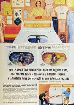 Home appliance ads from 1950. Found at Retro Ads & Graphics.