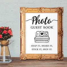 Photo guest book  snap it shake it stick it sign it