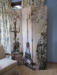 French Eiffel Tower Canvas Room Divider Screen Partition