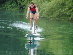 A hydrofoil water bicycle (A mix between a SUP board and a bike)