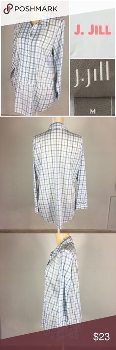 ff63a8ab5b5043 J. jill Tunic Shirt Dress Botton Blue & White Med Excellent used condition  Size Medium