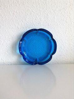Vintage Flower Shaped Glass Dish, Cobalt Blue