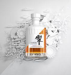 Hibiki Japanese Harmony whisky full CG product visual and illustration. Wine Packaging, Food Packaging Design, Wine Design, Bottle Design, Suntory Whisky, Japanese Whisky, Bussiness Card, Wine Bottle Labels, Rum Bottle