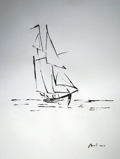 Original ink drawing sailboat europeanstreetteam by galeriaVarte