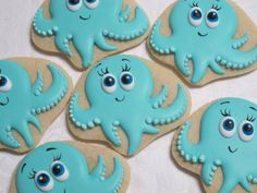 Octopus Under The Sea Party Cookies. TheIcedSugarCookie.com Marta's Cakes and Cookies