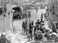 Canadian troops embarking in landing craft during training exercise before the raid on Dieppe.