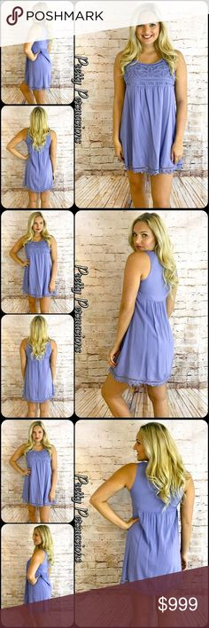 "NWT Periwinkle Crochet Lace Trim Sleeveless Dress Periwinkle Crochet Lace Trim Sleeveless Dress  Available in sizes S, M Measurements taken from a small Length: 33"" Bust: 36"" Waist: 36"" Hips: 44""  Rayon Color: Periwinkle  Features • intricate crochet lace yoke bust & bottom hem trim • rounded neckline • sleeveless • soft, breathable material • lined • non sheer   Bundle discounts available No pp or trades  Item # 1/206110460PCD lace crochet floral periwinkle blue purple babydoll dress garden…"
