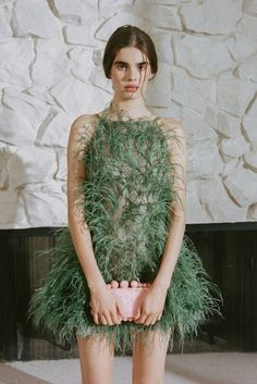 Shannon Feather-Embellished Silk-Tulle Mini Dress by Cult Gaia Kohls Dresses, Dresses Short, Feather Dress, Spaghetti Strap Dresses, Party Fashion, Runway Fashion, Silk Dress, Ideias Fashion, Fashion Dresses
