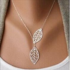 New Sliver Two Leaf statement necklace New in package Jewelry Necklaces