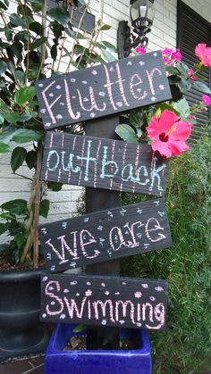 make similar Swimming Party Sign Butterfly Swimming, Garden Sayings, Butterfly Garden Party, Swim Quotes, Let's Flamingle, Butterfly Quotes, Pool Signs, Celebrate Good Times, Third Birthday
