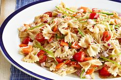Carrots, grape tomatoes and snow peas star in this Fresh Veggie Pasta Salad, but the zesty dressing and fixings make a great supporting cast.