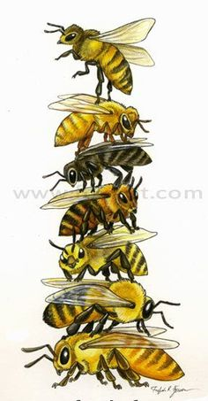 Bee Stack Art Painting Print Wall art totem pole honey bee art bee art bee totem beekeeper g I Love Bees, Birds And The Bees, Male Bee, Eslava, Buzz Bee, Images Vintage, Bee Art, Bee Happy, Bees Knees