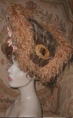 GORGEOUS 1903 CAROLINE REBOUX PARIS Silk Velvet & Ostrich Plume Hat w Big Brooch #CarolineRebouxParisFrance #BelleEpoqueOpulentEraFrenchEdwardian