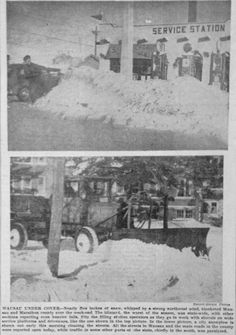 Jan. 12, 1940 - Wausau cleans up after a snow storm. A service station is shown.