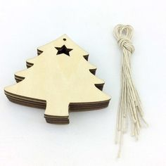 free shipping 10 pcsTrees Ornament Unfinished Wood Laser Cut Trees for christmas decoration