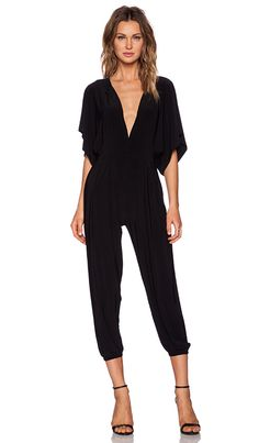 Norma Kamali Rectangle Cropped Stretch-jersey Jumpsuit In Black Black Jumpsuit Outfit, Ruffle Jumpsuit, Gingham Jumpsuit, Zara, Norma Kamali, Revolve Clothing, Couture, Women's Fashion Dresses, Fashion 2017