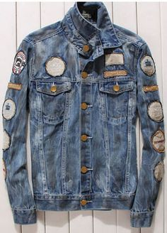 Men's Slim Roll Collar Long Sleeve Single Breasted Patched Denim Jeans Coat | Jacket