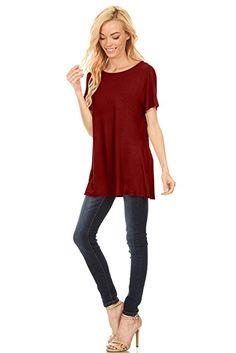 9e89885c4b8f7c Simlu Womens Basic 3 4 Sleeve Long A-Line Top Swing Top Long Tunic Top -  USA at Amazon Women s Clothing store