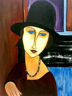 Modigliani schilderde in vijf tot tien jaren tijd vierhonderd schilderijen en duizend aquarellen. Amedeo Modigliani, Italian Painters, Paul Gauguin, Art Moderne, Art Abstrait, Contemporary Paintings, Figurative Art, Impressionism, Painting & Drawing