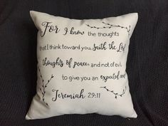 this is a custom made EXAMPLE pillow. insert your own quote, verse or saying in a font and style of your choice!    || a b o u t t h e p r o d u c t ||  - 16x16 canvas pillow cover - 18x18 - 12x20 - hand-drawn - canvas fabric - black marker   || p e r f e c t f o r ||  - home decor - bridal shower gift - wedding gift - engagement gift - anniversary gift - any gift!   || c u s t o m i z e ||  - custom orders always available! - add custom quote, verse or saying in the note to shop when…
