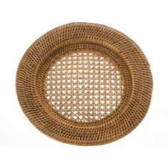 Round Rattan Charger Plate - Honey Brown