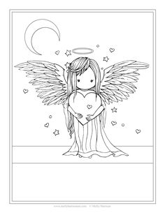 Angel Coloring Pages by Molly Harrison Fantasy Art Angel Coloring Pages, Free Coloring Pages, Printable Coloring Pages, Coloring Books, Mermaid Art, Fairy Art, Digi Stamps, Fantasy Art, Stencil