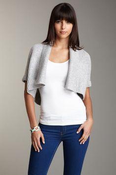 Chunky Knit:  BCBGMAXAZRIA Wool Blend Shawl Collar Cropped Cardigan