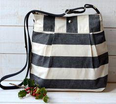 Messenger bag- Cross body bag -Travel bag STOCKHOLM Black and Ecru Stripe Pleated French Messenger - 8 Pockets for $59.00 at etsy.com