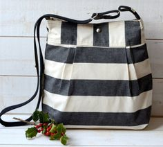Diaper bag - Messenger bag- Cross body bag -Travel bag STOCKHOLM Black and Ecru Stripe Pleated French Messenger - 8 Pockets- Diaper Bag for me! =)