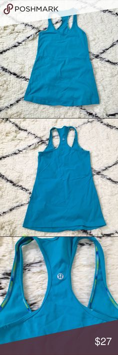 """Turquoise lululemon cool racerback Turquoise lululemon cool racerback; I took out the size tag but I believe it is a size 6. 25"""" long and 14"""" across chest lululemon athletica Tops Tank Tops"""