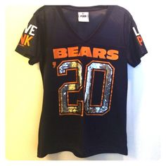 Chicago Bears PINK jersey top Navy blue, orange and white lettering, sequins in the number 20, size xs, never worn PINK Victoria's Secret Tops Tees - Short Sleeve