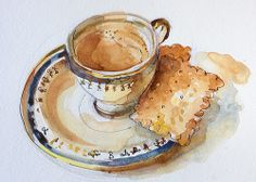 by Suhita Shirodkar or 'chai-biskut' as you would say in India. Mixing metaphors here: an english(?) teacup, indian chai, and tea biscuits from my neighborhood Persian store. Watercolor Food, Watercolor Projects, Watercolor And Ink, Watercolor Ideas, Tea Cup Art, Tea Cups, Pen And Wash, Tea Biscuits, Tea Illustration