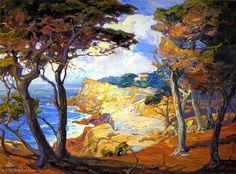 'A Villa on the Monterey Coast', Oil On Canvas by Franz Bischoff (1864-1929, Austria)