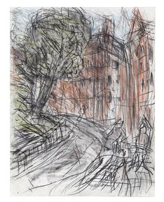 Available for sale from Annely Juda Fine Art, Leon Kossoff, Arnold Circus Charcoal and pastel on paper, × 50 cm Art Sketches, Art Drawings, Contour Drawings, Drawing Faces, Leon Kossoff, Drawing Projects, Drawing Tips, Artist Sketchbook, Sketches