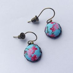 Turquoise and Pink -  Floral Fabric Covered Earrings.