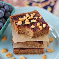 Secretly-healthy Peanut Butter & Jelly Blondies -- they're low fat (no butter!), sugar free, high protein, GF + V too!