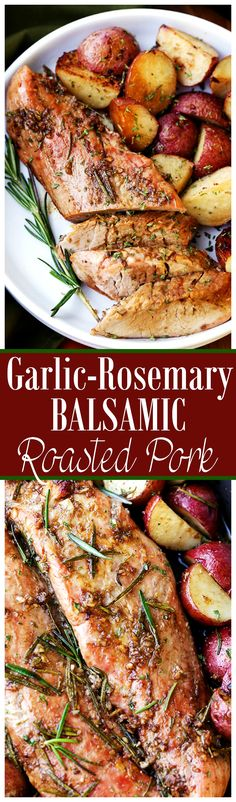 Garlic and Rosemary Balsamic Roasted Pork Loin - Easy to make, flavorful, incredibly tender pork loin rubbed with a Garlic and Rosemary Balsamic mixture makes for a crowd pleasing dinner with very little effort. paleo dinner for a crowd Easy Pork Loin Recipes, Pork Tenderloin Recipes, Pork Roast, Meat Recipes, Slow Cooker Recipes, Cooking Recipes, Chicken Recipes, Recipies, Pork Loin Crock Pot