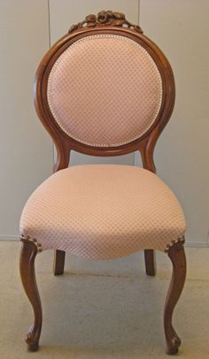 Victorian Antique Carved Mahogany Side Parlor Desk Chair, Roses, Pink Upholstery (identical twin to the chair we're renovating is for sale on eBay for $395!!)